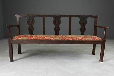 Antique Oak Chippendale Style Settee Bench Hall Seat Kitchen