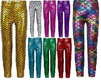 Girls Kids Fish Scale Mermaid Holographic Slim Metallic Leggings Age 5-13 Years