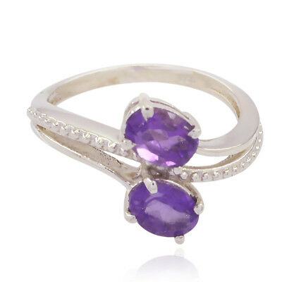 Lovely Gemstones Oval Faceted Amethyst ring - Solid Silver Purple Amethyst UK