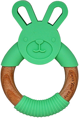 Earth Kind Baby Teething Toy, Organic Eco Friendly BPA Free, Wooden Bunny Round