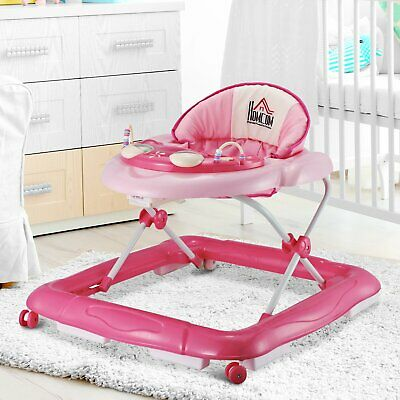 Pink Foldable Baby Walker - First Step FUN Entertainment Board Adjustable Height
