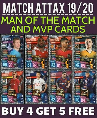 Match Attax 2019/20 19/20 Man Of The Match Cards + Mvp Cards Buy 4 Get 5 Free