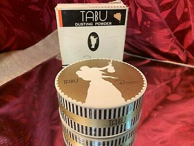 Vintage Tabu Dusting Powder Sealed Box 1940s by Dana NY and Paris