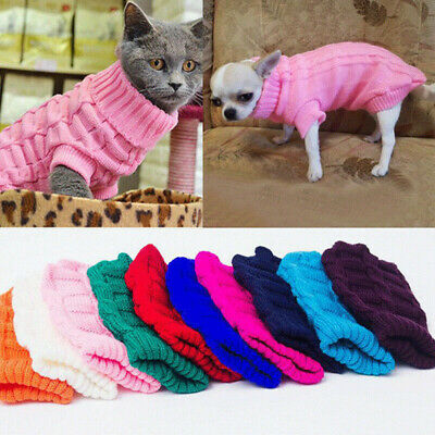Dog Clothes Pet Winter Sweater Knitwear Puppy Warm Clothing Apparel Coat XS-XL
