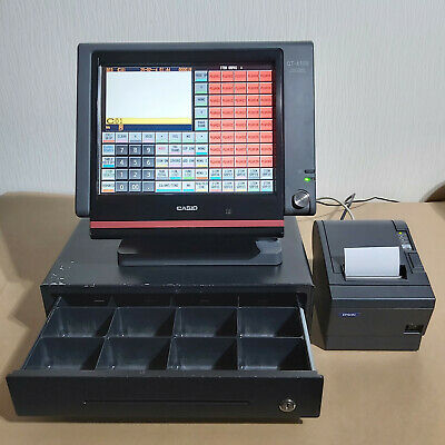 Casio QT-6100 POS System With Epson TM-T88III Printer & Cash Drawer Tested Works