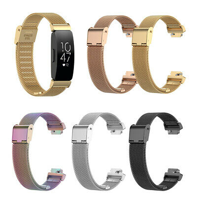 Wr_ For Fitbit Inspire Hr/Ace2 Adjustable Stainless Steel Watch Band Wrist Strap