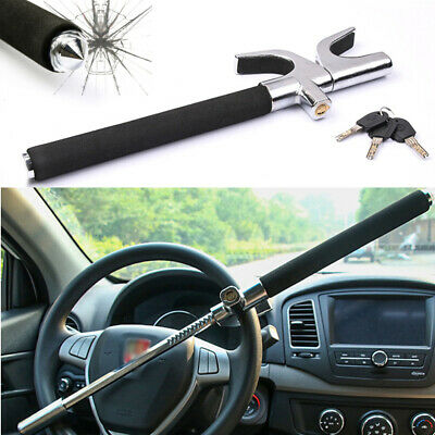 Black Car Van Anti-theft Steering Wheel Lock Clamp Security Locking Tool + Keys