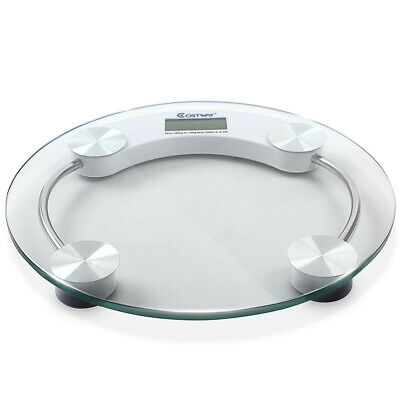 Digital Weight Scale 396 lb Bathroom Scales Round Tempered Glass High Quality