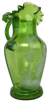 RARE Victorian MARY GREGORY Painted Scenic Pontil Green Glass Water Pitcher Jug