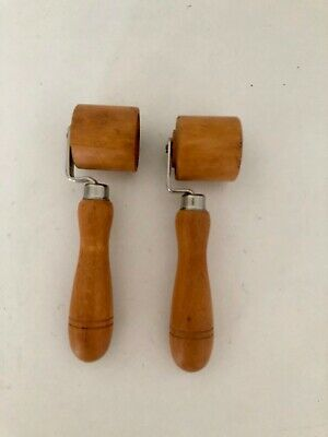 Vintage Wooden Wallpaper / Leather Seam Hand Roller X 2