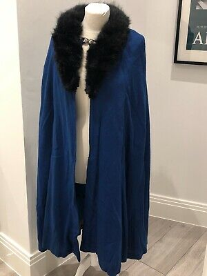 1940s Blue Vintage 'Blue Orchid' Wool Cape With Feaux Fur Collar