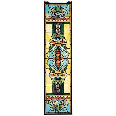 "35"" H x 9"" W Manor Hall's Tiffany-Style Stained Glass Window Panel"