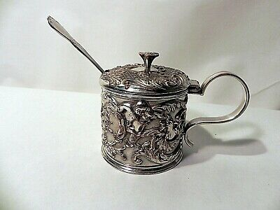 vintage reposse mustard pot with spoon & blue glass insert, silver plated