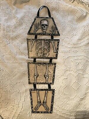 Halloween Skeleton in Coffin Wall Hanging Decoration Particle Board on Ribbon