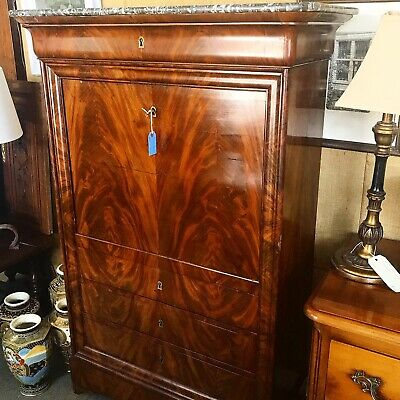 Antique French Marble Top Mahogany Secretaire Abattant Drop Front Desk