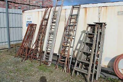 Vintage Antique Timber Metal Ladders Tressle Extension Shelf Shelving Industiral