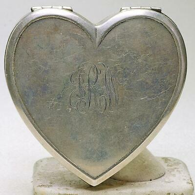Vintage Sterling Silver 925 Heart Shape Large Compact Mirror Combo Suberb USA