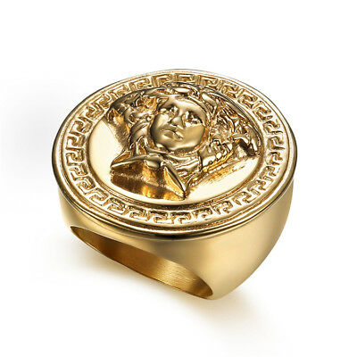 Stainless Steel 18k Yellow Gold Plated Egypt Cleopatra Men Cool Design Ring M45