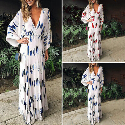 Womens Loose Summer V Neck Beach Holiday Evening Dresses Floral Maxi Dress New