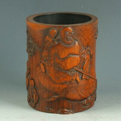 Exquisite CHINESE Rosewood Pen holder Handwork Carved Polygon Hollow Brush Pot
