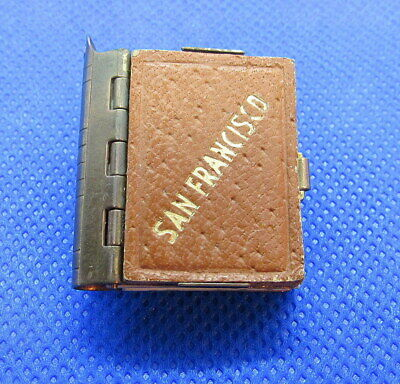 Vintage Antique Miniature Souvenir Book Of Photos Of San Francisco Metal/Leather