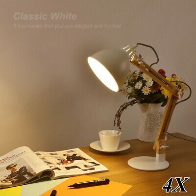4X Swing Arm Wood Desk Table Lamp LED Table Bed Reading Light Modern Style White