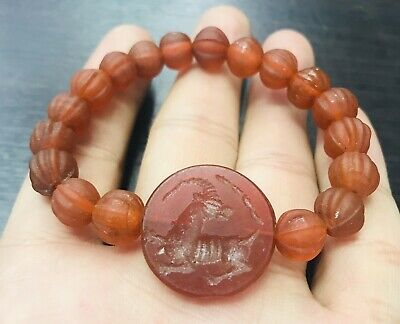 Ancient Sassanian Agate Intaglio Stone With Carnelian Agate Beads Lovely Brcelet