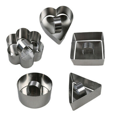 10 Pcs/Set Stainless Steel Cake Ring Square Dessert Mousse Mold with Pusher E7D3