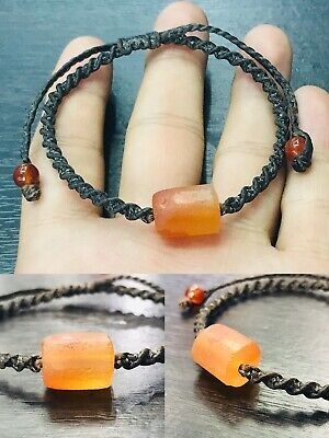 Natural Ancient Old Rare Agate Stone Adjustible Leather Bracelet