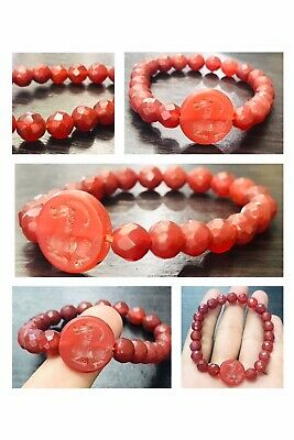 Nacked Handmade Very Old Carnelian Agate Intaglio Cameo Carver Beads Bracelet
