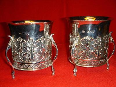 Stunning English Sterling Silver Pair Loving Cups Mappin & Webb
