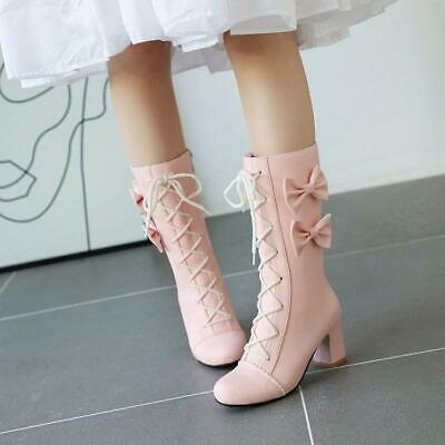 Details about  /Sweet Womens Lolita Round Toe Bowknot Block Heel Lace Up Ankle Boots Cute Shoes