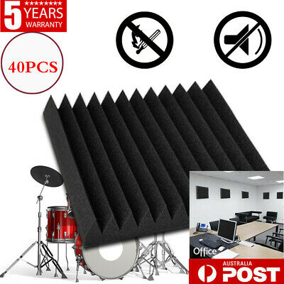 40pcs Studio Black Acoustic Foam Sound Absorbtion Proofing Panel Wedge 30X30CM