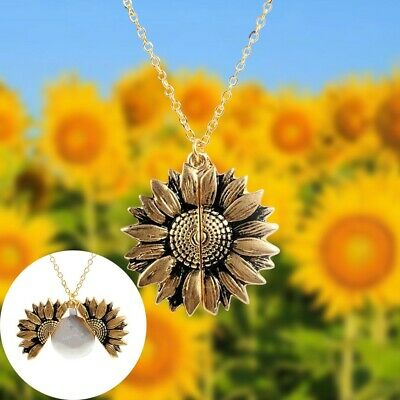 Unisex Necklace You Are My Sunshine Sunflower Pendant Open Chic Jewelry Gift IL