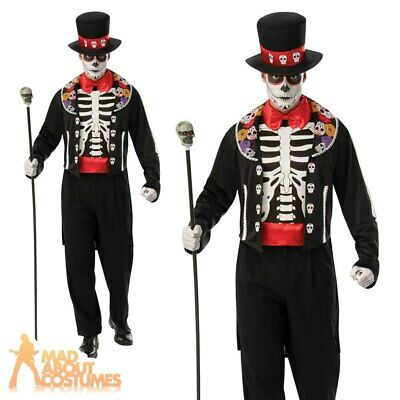 Adult Day Of The Dead Man Costume Skeleton Skull Halloween Fancy Dress Outfit