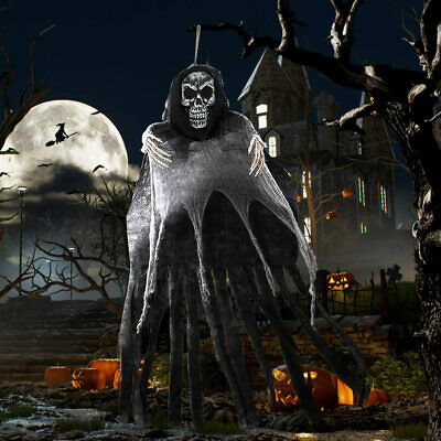 5.5ft Large Hanging Grim Reaper Halloween Skeleton Hanging Ghost Home Scary Prop