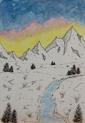 ACEO Original watercolor, night sky, stars, mountains, trees, river, landscape