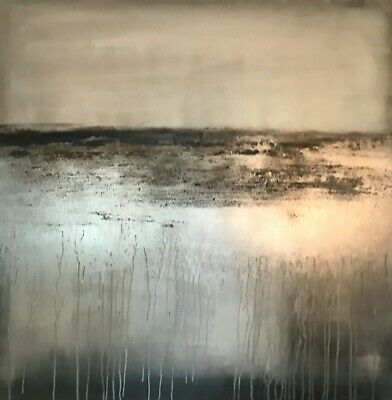 Large statement Abstract canvas painting! Stunning Taupe/Greys/Champagne canvas