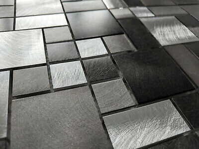 Silver Grey Metal Turned Brushed Steel Square Rectangle Mosaic Tiles 8Mm Chrome