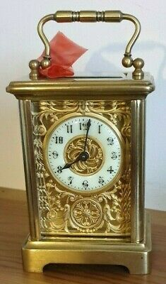 Edwardian Cornish Case Carriage Clock  Fancy Dial 8 Day In Full Working Order