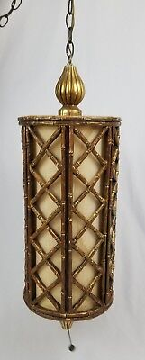 Mid-century Faux Bamboo Chandelier Swag Light Lamp Chippendale Regency Vintage