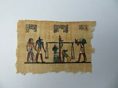 Vintage Egyptian Papyrus Tax Scale handmade painting Oriental Natural Décor