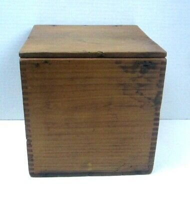 """Antique Primitive Wood Box Tongue Groove Hand Worked Hinged lid 7 1/2"""" square"""