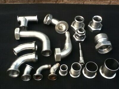Lot of Stainless Steel Sanitary Fitting