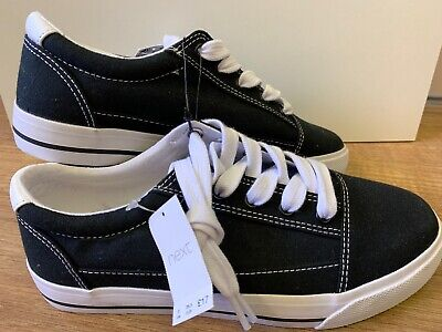 BNWT Next Boys Black Canvas Shoes Size 3 Lace Up NEW