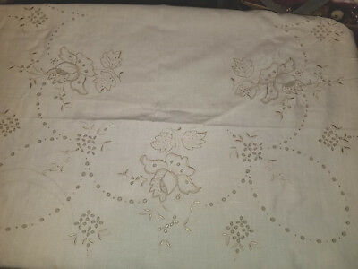 Vintage Antique European Linen Tablecloth Embroidered Openwork Rectangular Ecru