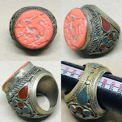 Vintage Afghan Coral Huge Ring Ethnic Trible Jewellery Antique