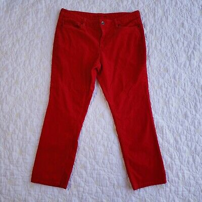 Lands Corduroy Pants Womens Size 22W Red Straight Leg Cords Mid Rise