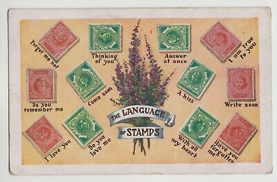 "POSTCARD - ""The Language of Stamps"" philately interest, romance, romantic"