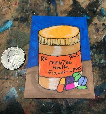 Mental Health Aceo Original Trading Card Lowbrow Abstract Surreal